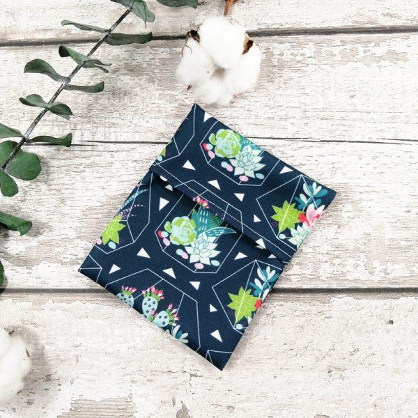 Pochette individuelle pour serviette hygiénique lavable- Cactus géométrique | AZV