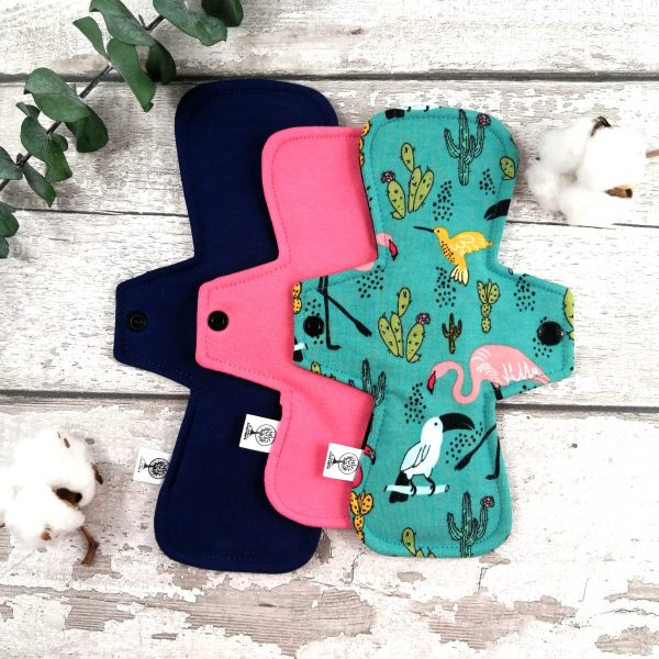 Kit D'essai de serviettes hygiéniques lavables pour adolescente - Flamand et cactus | AZV